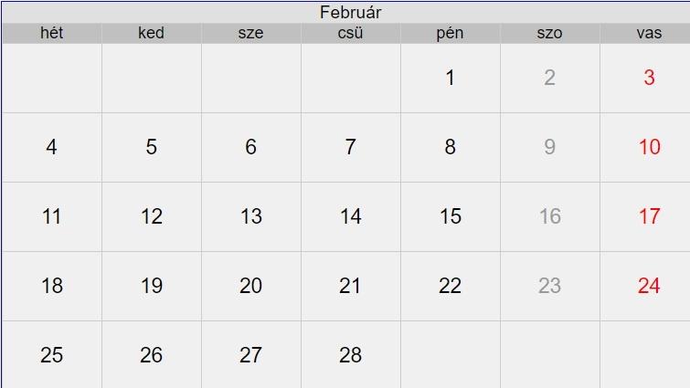 2019 februári naptár 2019. február 2019 februári naptár