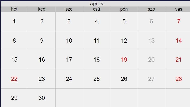 2019 áprilisi naptár 2019. április 2019 áprilisi naptár